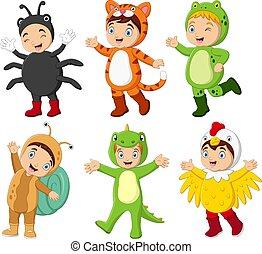 diferente, caricatura, grupo, llevando, trajes, niños
