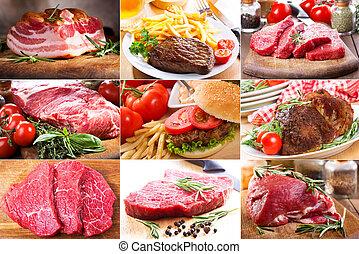 diferente, collage, carne