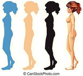 diferente, color, mujer, silueta