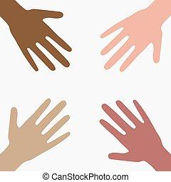 diferente, concepto, colores, piel, parthnership., illustration., carrera, internacional, unidad, vector, humano, collection., círculo, apoyo, manos, plano