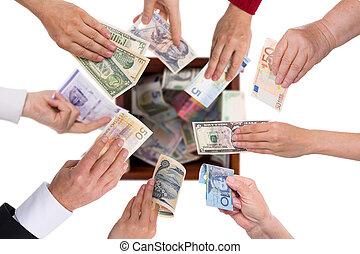 diferente, concepto, crowdfunding, monedas