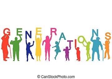 diferente, concepto, edades, generaciones, gente