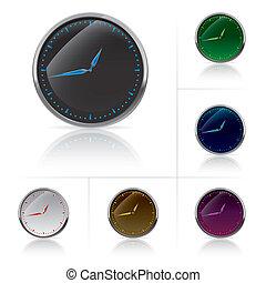 diferente, conjunto, colores, reloj