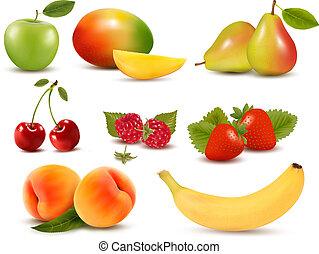 diferente, conjunto, grande, berries., fruta, vector., fresco