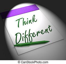diferente, cuaderno, exhibiciones, innovación, pensar, inspiración