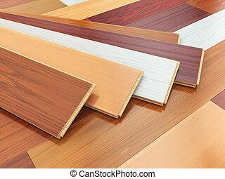 diferente, de madera, laminate, o, colores, floor., parqué, tablones