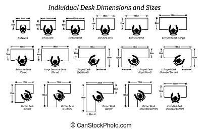 diferente, dimensiones, sizes., individuo, escritorio, tabla