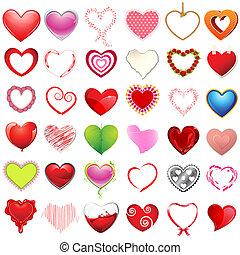 Diferente estilo de corazones