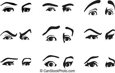 Diferente expresión de un ojo expresando emociones. Una ilustración del vector