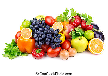 diferente, fruits, plano de fondo, vegetales, conjunto, blanco