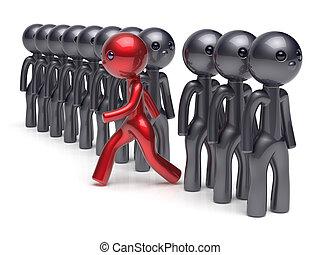 diferente, gente, carácter, individualidad, negro, humano, rojo