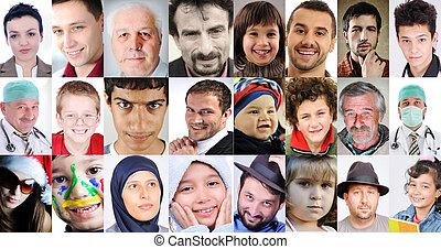 diferente, gente, collage, edades, común, culturas, expresiones, lotes