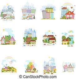 diferente, grande, aldeas, aislado, seaso, colección, pueblos