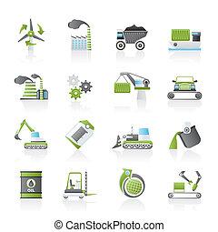 diferente, industria, clase, iconos