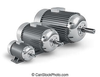 diferente, industrial, motores, eléctrico, conjunto