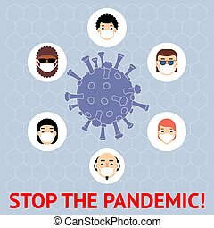 diferente, masks., illustration., pandemic., gente, parada, coronavirus., 2019-ncov, novela, protector, banner., vector, coronavirus, países
