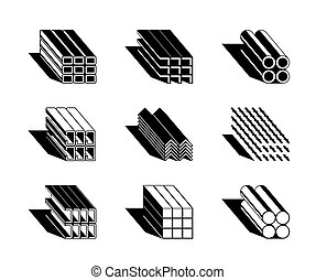 diferente, metal, perfiles, edificio