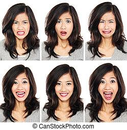 diferente, mujer, expresión, facial