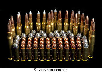 diferente, munición, balas, arma de fuego, tamaños