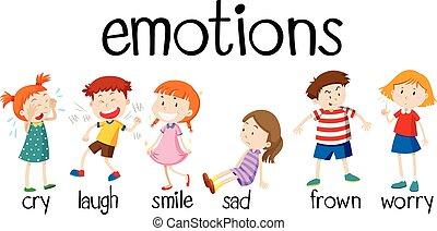 diferente, niños, expresar, emociones