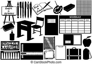 diferente, objetos, escuela