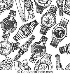 diferente, patrón, wristwatches., seamless