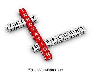 diferente, -, pensar, innovación