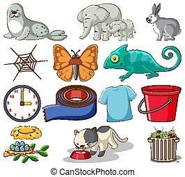 diferente, plano de fondo, otro, blanco, conjunto, animales, artículos, hogar