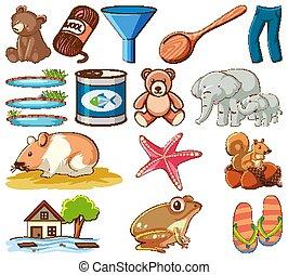 diferente, plano de fondo, otro, blanco, objetos, conjunto, grande, animales