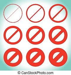 diferente, prohibtion, señal, restricción, thicknesses, camino