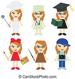 diferente, seis, niñas, profesiones