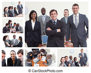 diferente, situaciones, businesspeople, posar, collage