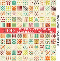 diferente, (with, patrones, seamless, swatch)., vector, retro