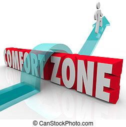 diferente, zona, encima, comodidad, experiencia, probar, exterior, yendo, crecer