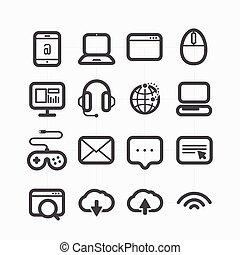 Diferentes íconos web establecidos con curvas redondeadas. Elementos de diseño