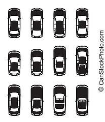 Diferentes coches vistos desde arriba