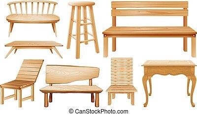 Diferentes diseños de sillas de madera