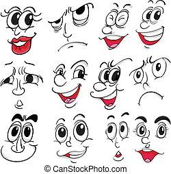 Diferentes expresiones faciales