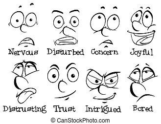 Diferentes expresiones faciales de humanos