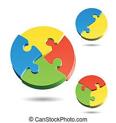 Diferentes formas de rompecabezas