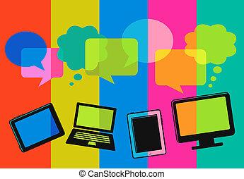 Diferentes iconos informáticos con burbujas de habla