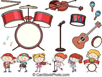 Diferentes instrumentos musicales y niños
