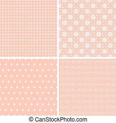 Diferentes patrones de vectores rosados sin costura