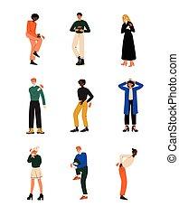 Diferentes personas que sienten dolor en diferentes partes del cuerpo causadas por enfermedades o heridas, dolor de muelas, dolor de espalda, dolor en brazos, piernas, hombro y vector de vectores del pecho
