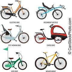 Diferentes tipos de bicicletas para hombres mujeres y niños. Motos para la familia. Las ilustraciones de vectores aíslan el blanco