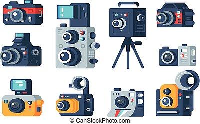 Diferentes tipos de cámaras puestas