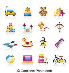Diferentes tipos de iconos de juguetes