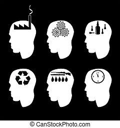 Diferentes tipos de personas cerebro y cerebro