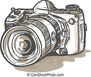 digital, cámara de slr, dibujo