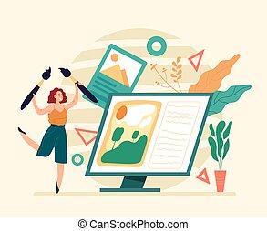 digital, concepto, diseñador, carácter, mujer, gráfico, working., freelancer, ilustración, artista, plano, diseño